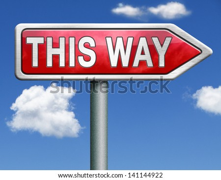 this way online guide follow lost find direction guiding guidance road sign arrow