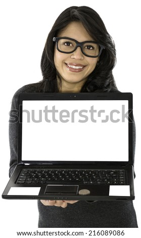 This young lady have her computer on her hands and she smile