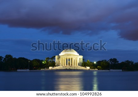 Thomas Jefferson Memorial at blue cloudy dusk, Washington DC United States