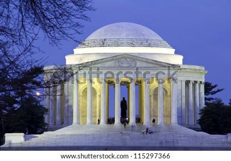 Thomas Jefferson Memorial at night in Washington DC, USA - stock photo
