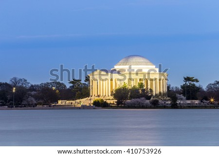 Thomas Jefferson Memorial building at dusk Washington, DC - stock photo