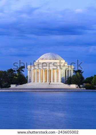 Thomas Jefferson Memorial illuminated in the blue hour in Washington, DC. - stock photo