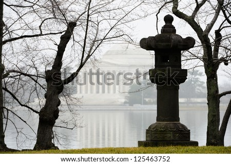 Thomas Jefferson Memorial in a misty winter morning - stock photo