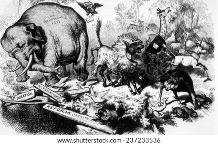 Thomas Nast political cartoon that is the first depiction of the Republican Party as an elephant, from Harper's Weekly, 1874. - stock photo