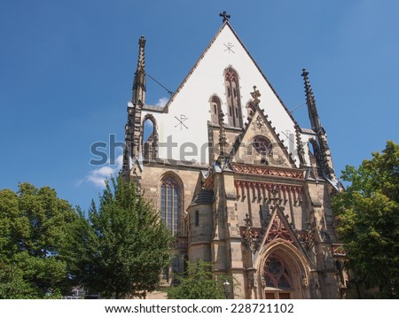 Thomaskirche St Thomas Church in Leipzig Germany where Johann Sebastian Bach worked as a Kapellmeister and the current location of his remains - stock photo