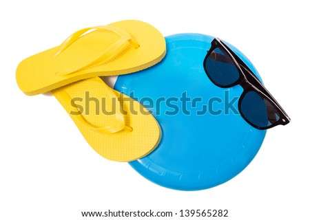 Thongs With Frisbee And Sunglasses And Copy Space/ Beach Concept - stock photo