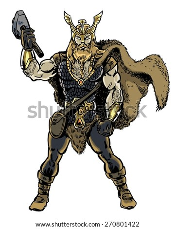 Thor son of Odin  character illustration - stock photo