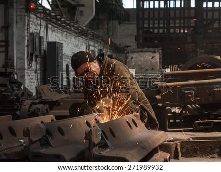 Thorez, Ukraine - July, 22, 2013: Welder at work. Repair and Engineering Works - stock photo