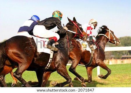 Thoroughbred horserace - stock photo