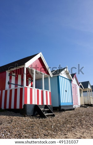 Thorpe Bay beach huts, southend, essex, uk