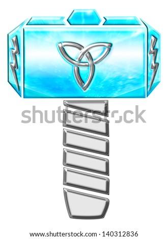 Thors Hammer - Illustration - Triquetra & Flash - stock photo