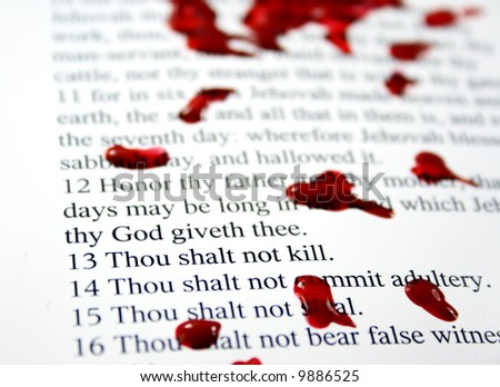 Thou shalt not kill - part of the Decadent Decalogue series - stock photo
