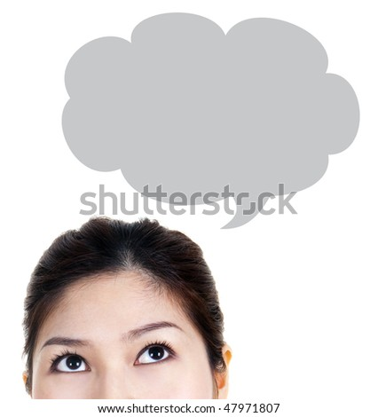 Thought. Close-up portrait of a beautiful woman. Looking up. - stock photo