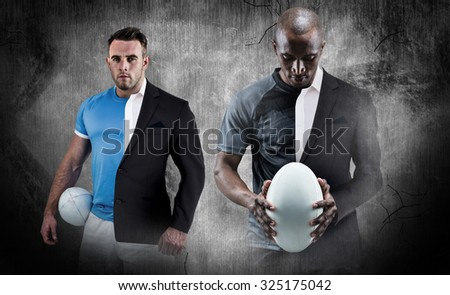 Thoughtful athlete looking at rugby ball against half a suit - stock photo