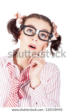 Thoughtful Beautiful Woman Looking Up In A Depiction Of A Creative Idea Isolated Over White - stock photo