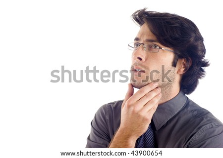 Thoughtful business man , a lot of copyspace, isolated over a white background