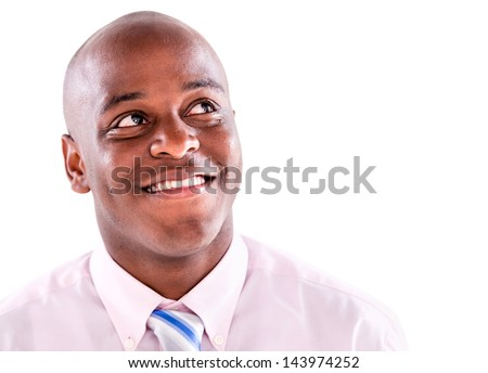 Thoughtful business man looking up - isolated over white background - stock photo