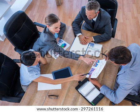 Thoughtful business people during meeting in office - stock photo