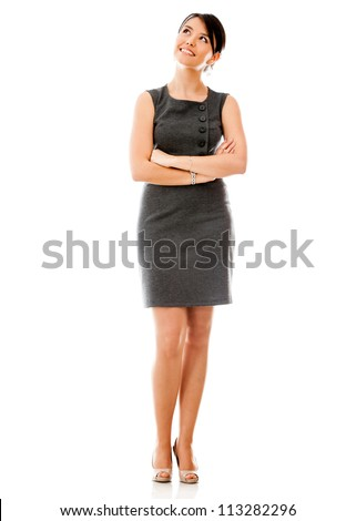 Thoughtful business woman - isolated over a white backgorund - stock photo