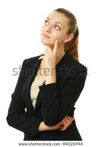 Thoughtful business woman portrait isolated over a white background