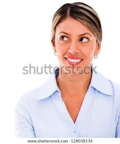 Thoughtful business woman smiling - isolated over a white background