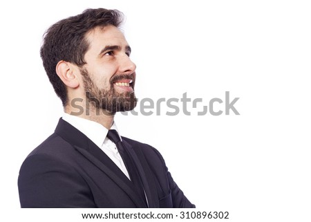 Thoughtful businessman looking up, isolated on white background - stock photo