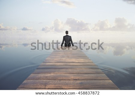 Thoughtful businessman sitting at the end of pier on sky background. Research concept. 3D Rendering