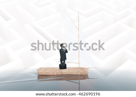 Thoughtful businessman with briefcase on sailing ship. Maze background. Research concept. 3D Rendering