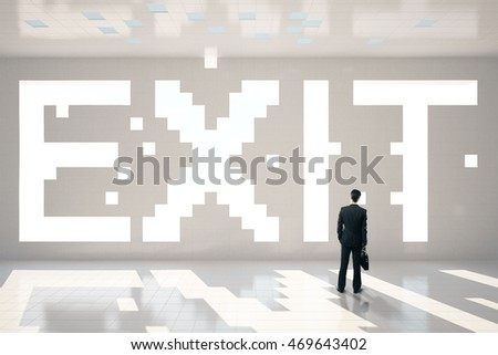 Thoughtful businessman with briefcase standing in interior with pixeled exit text. 3D Rendering