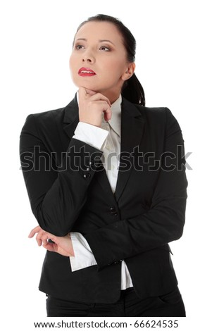 Thoughtful businesswoman, isolated over a white background - stock photo