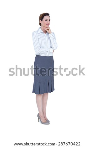 Thoughtful businesswoman looking away on white background - stock photo