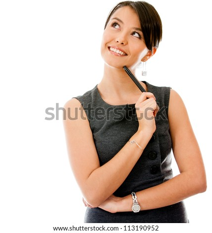 Thoughtful businesswoman looking up - isolated over a white background - stock photo