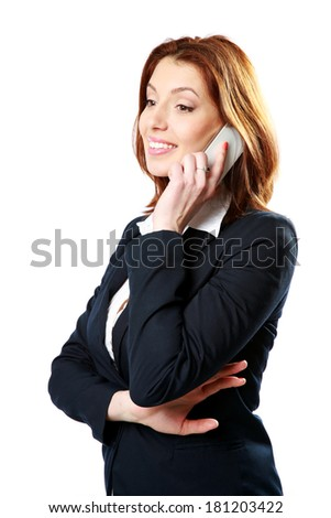 Thoughtful businesswoman talking on the phone isolated on a white background - stock photo