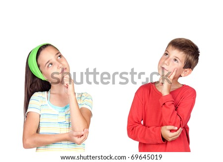 Thoughtful children isolated on white background