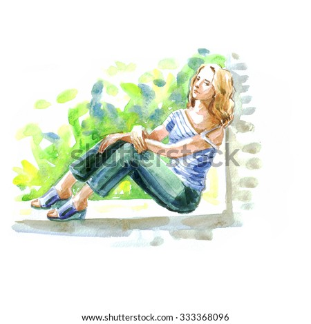 thoughtful girl, watercolor illustration