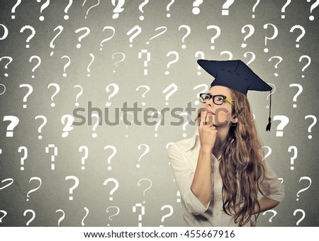 thoughtful graduate student, young woman with many question marks above head