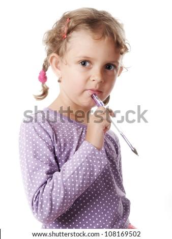 Thoughtful little girl - stock photo