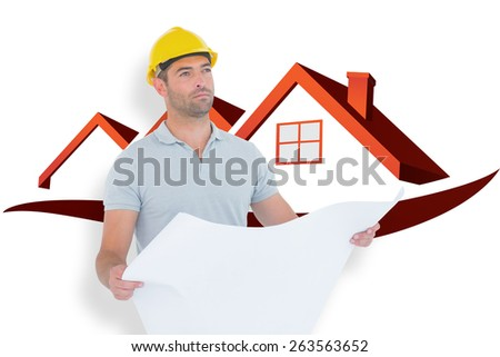 Thoughtful male architect holding blueprint against house roofs - stock photo