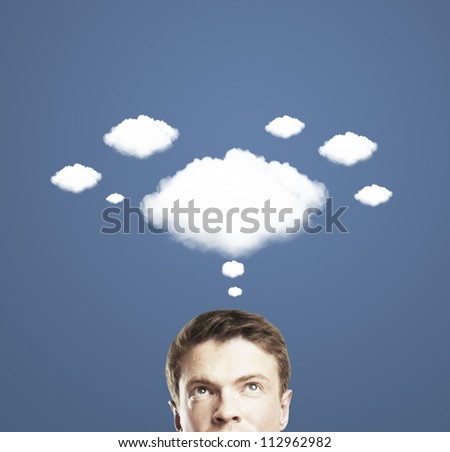 thoughtful man and a cloud of thoughts - stock photo