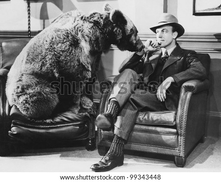 Thoughtful man with bear