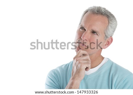 Thoughtful mature man looking away isolated over white background - stock photo