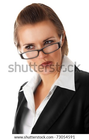 thoughtful modern business woman with glass isolated on white