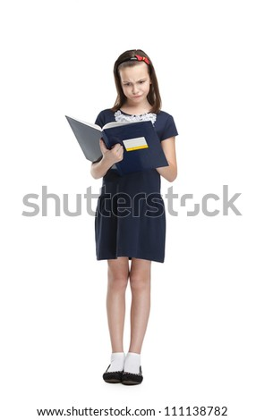 Thoughtful schoolgirl carries her books, isolated, white background - stock photo