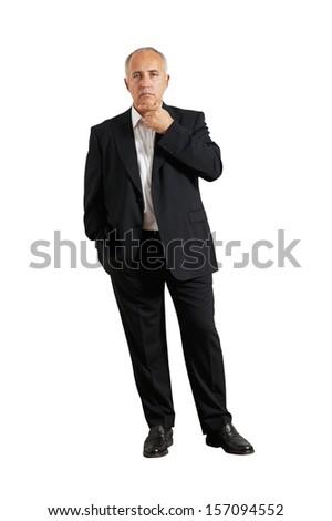 thoughtful senior man looking at camera. isolated on white background - stock photo