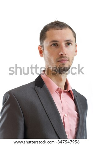 Thoughtful suit tie businessman isolated