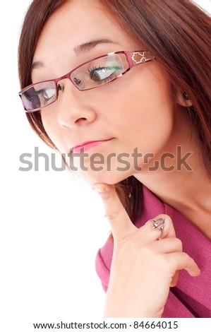 Thoughtful woman looking  isolated over white background - stock photo