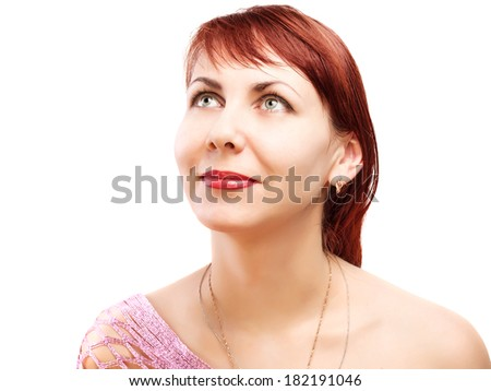 Thoughtful woman looking up - isolated over a white background - stock photo