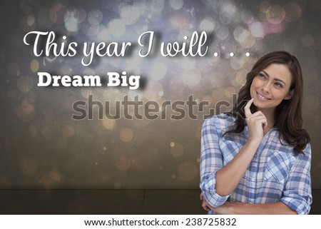 Thoughtful woman placing her finger on her chin against dark abstract light spot design - stock photo
