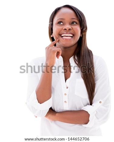 Thoughtful woman smiling - isolated over a white background - stock photo