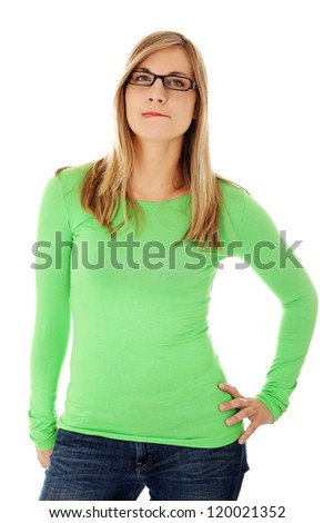Thoughtful woman with problem, isolated on white - stock photo